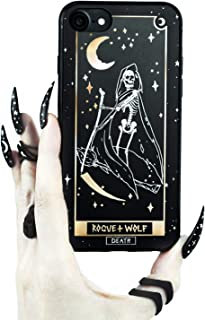 Rogue + Wolf Death Tarot Card Phone Case with Metallic Gold Mirror Details Compatible with Galaxy S10+ Cases Wiccan Goth