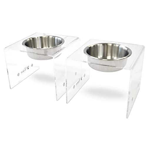 PetFusion Elevated Dog Bowls, Cat Bowls. [Attach, Detach, Add On, Mix Match Short 4  & Tall 8 ]. Buy Singles or Pairs