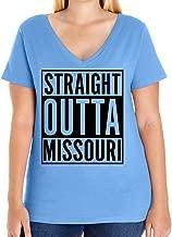 Tenacitee Women's Straight Outta Missouri Plus Size V Neck T-Shirt, Size 1, Carolina Blue