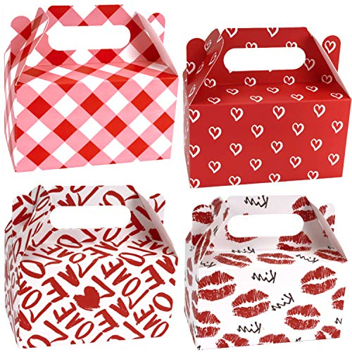 WRAPAHOLIC 24 Pack Valentine's Day Treat Boxes - Sweet Red and Pink Cardboard Box for Goody Cookie Holder, Classroom Crafts Supplies, Party Favors - 6.25 x 3.5 x 3.5 Inch