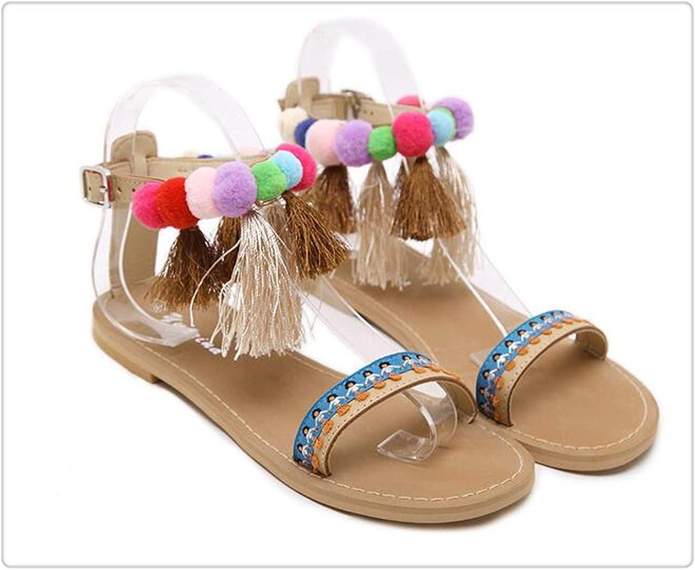 ANGERT& colorful Balls Ethnic Style Sandals Microfiber Leather Women Zipper Gladiator