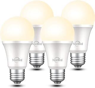 Smart Light Bulb Works with Alexa Google Home Siri,No Hub Required, NiteBird WiFi Dimmable 800 Lumen Warm White A19 E26 2700K LED Lights Bulbs, 8W (75W Equivalent),4 Pack