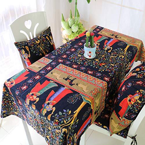 Manteles de lino y algodón rectangulares con borla para mesa de comedor, 90 x 90 cm
