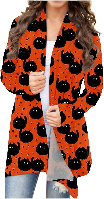 Halloween Cardigan for Womenl,Long Sleeve Open Front Cardigan Womens Halloween Animal Cat Pumpkin Print Jackets