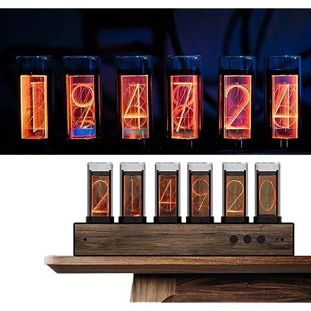 PAKASEPT Reloj LED Nixie de color ajustable con panel de nogal negro, 10.000 colores Nixie Tube Clock antes para tubos de regalo, para amigos y niños