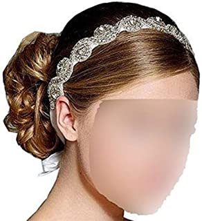 Goege Elegent Luxury Handmade Crystal Rhinestone Jewelry Beads Bridal Wedding Evening Pageants Proms Birthday Christmas Gift Headband Satin Ribbon Hiarband Headwrap Hair Band Accessory White