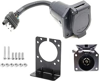 HOB4U 4 Pin Flat to 7 Pin Round RV Blade Trailer Adapter Plug with Mounting Bracket