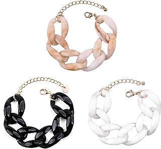 COLORFUL BLING 3Pcs Chunky Acrylic Chain Bracelet Set, Trendy Resin Bold Link Chain Bracelets for Women Girls Simple Lovel...