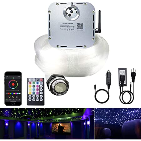 AKEPO 32W APP Twinkle Fiber Optic Lights Kit Music Activated RGBW Star Ceiling Sky Light, 1000pcs 16.4ft/5m 0.03in/0.75mm Optical Fiber Cable + 28key Remote + Crystals for Car & Media Room Decor