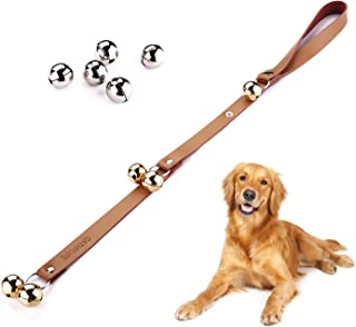 CATHYLIFE Dog Doorbells for Potty Training, Dog Bell with Doggie Doorbell, Contains Golden and Silver Bells, Made of Copper, Brown Leather Strap