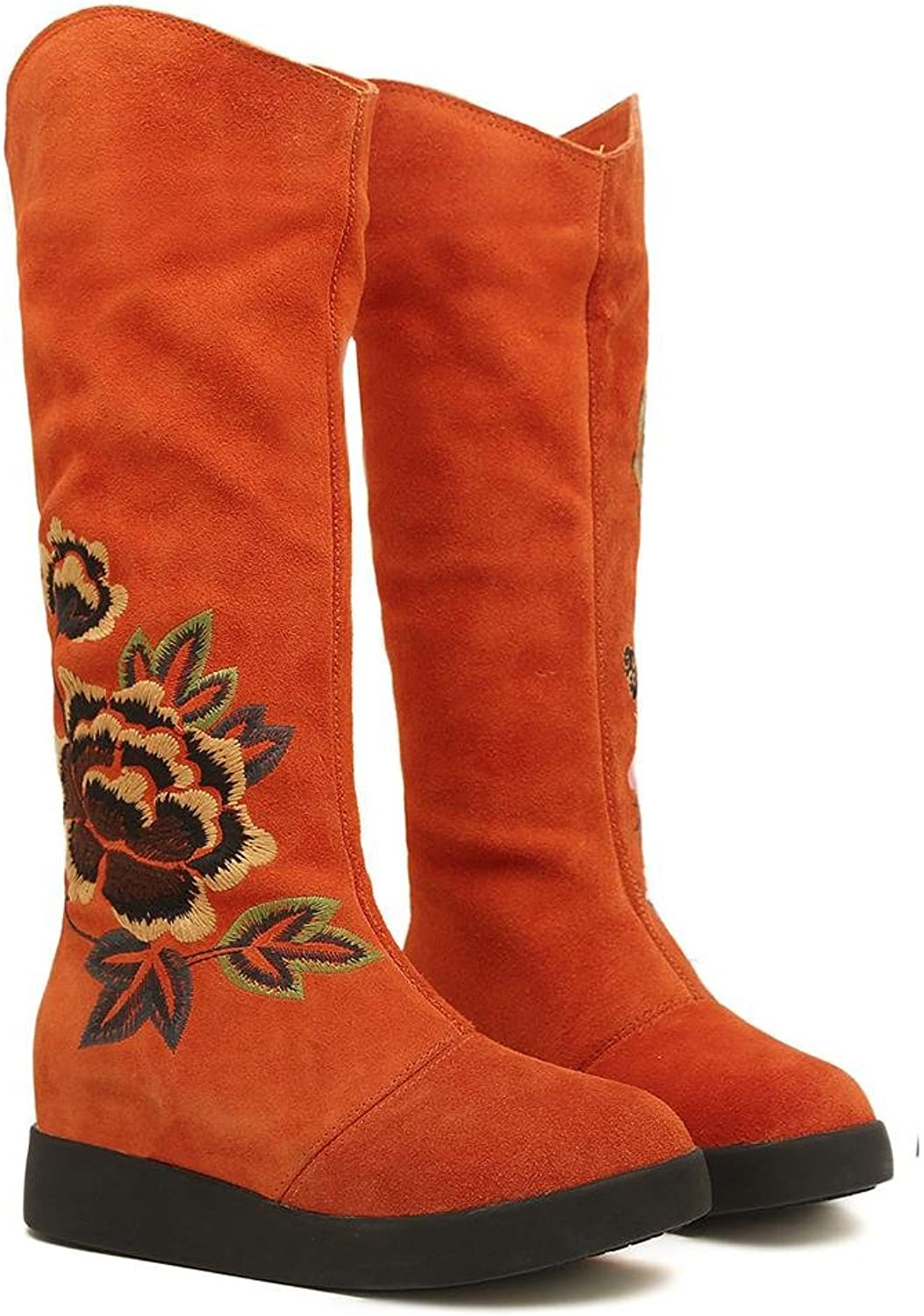 XUANshoes PPLadies Autumn and Winter Embroidered Female Boots Fashion Boots Keep Warm Snow Boots Gaotong Cotton shoes