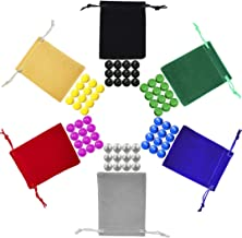 Chinese Checkers Marbles, Glass Replacement Game Marbles, Set of 72, 12 of each Color, with 6 Small Velvet Drawstring Pouches and 1 Large Velvet Drawstring Pouch
