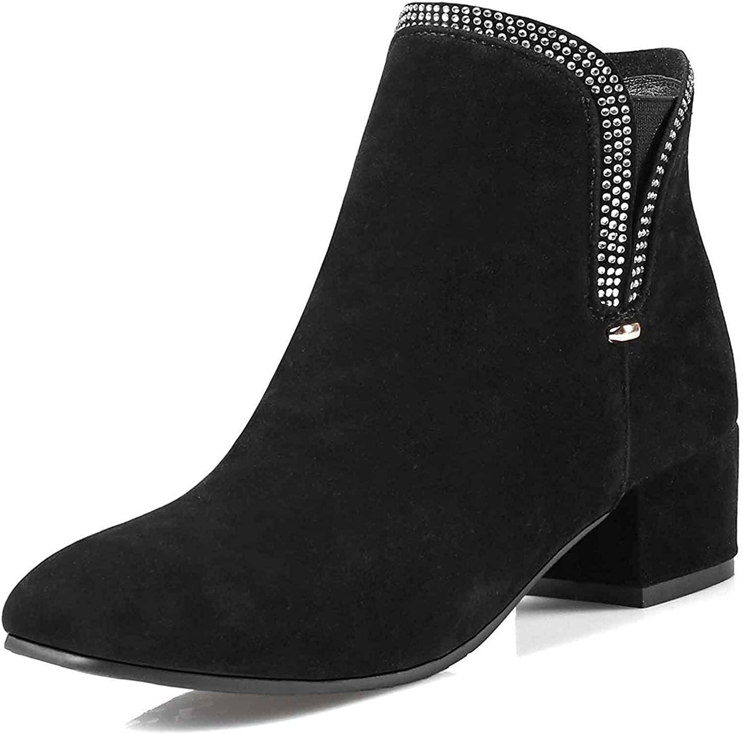 Unm Women's Chelsea Square Toe Booties with Zipper - Rhinestones Outdoor Combat - Low Chunky Heel Ankle Boots