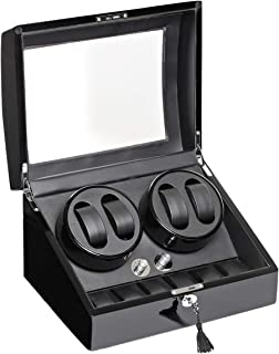 Wooden Automatic Watch Winder 4 Plus 6 Piece Storage - WW3-Black