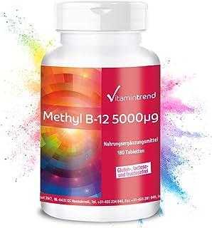 Metilcobalamina 5000mcg – ¡Bote para 6 MESES! – Vitamina B12 altamente dosificada – 180