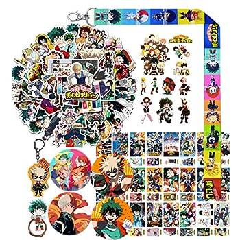 My Hero Academia Stickers Gift Set - 50 Pcs Anime Cartoon Laptop Stickers,30 Postcards,1 Keychain,1 Phone Ring Holder,1 MHA Lanyard,4 Button Pins,1 Tattoo Sticker
