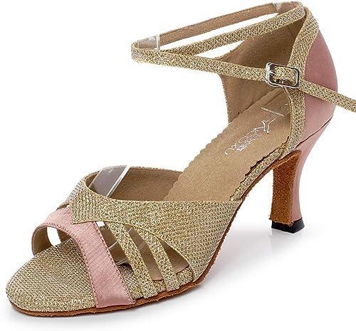 XIAOY Cross Strap Chaussures Danse Latine Femme Salle de Bal en satin Pour Talons Hauts 7.5CM