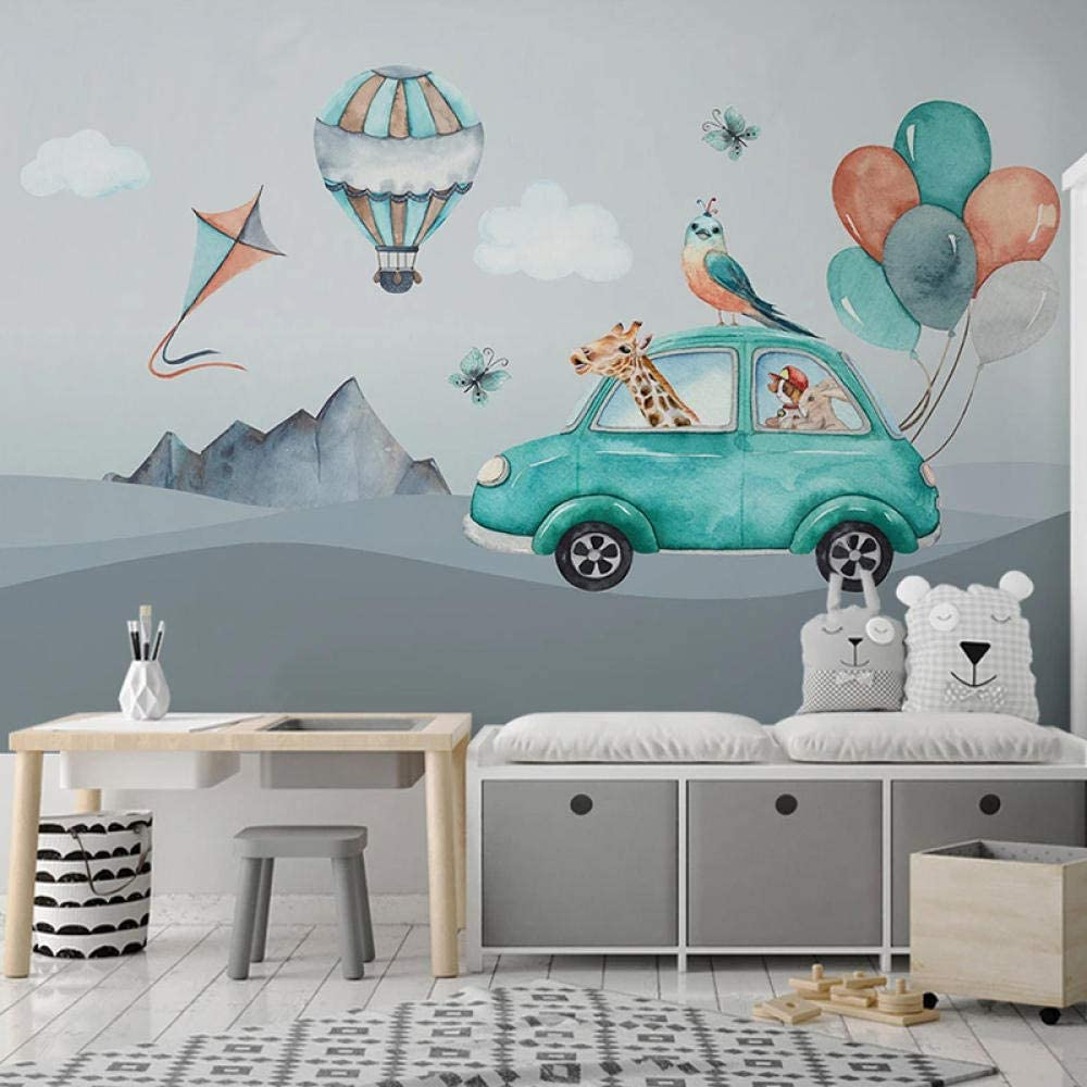 Custom 3D 67% OFF of fixed price Mural Wallpaper Seattle Mall for Cartoon G Car Hand Painted Balloon