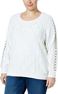 TOMMY HILFIGER Plus Size Cable-Knit Grommet-Trim Sweater, Ivy, Size 0X