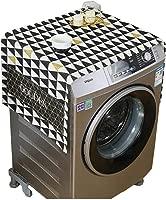 SYJYA Fridge Dust Cover Multi-Purpose Washing Machine Cotton Linen Top Cover with Side Storage Pockets-Yellow White Stripes 55 X 140Cm,E