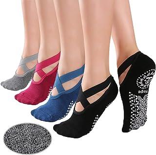 KaiYunSheng, elásticos Calcetines de Yoga Antideslizantes para Mujer, Antideslizantes, para Pilates, para Mujer, Calcetines de Ballet, con empuñaduras, 4 Pares
