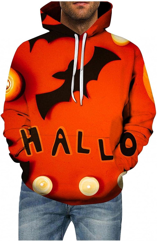 Halloween Hoodies for Men Pullover Bat Printed Mens Sweatshirts Comfy Loose Long Sleeve Hoodies for Men Women Tops
