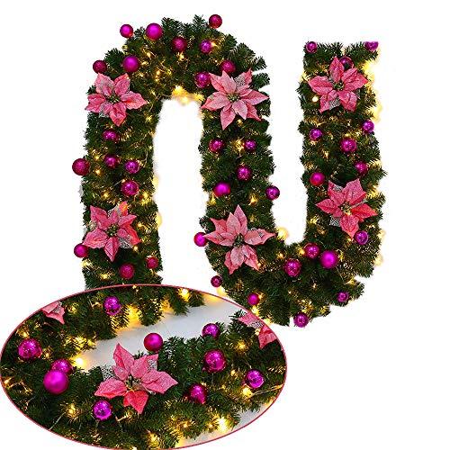 2.7M Weihnachtsbaum Rattandekoration mit LED Lichterkette batteriebetrieben, Dapei Warmweiß Lichterkette mit Rosa Blume für Weihnachten Party Innen und Außen Deko
