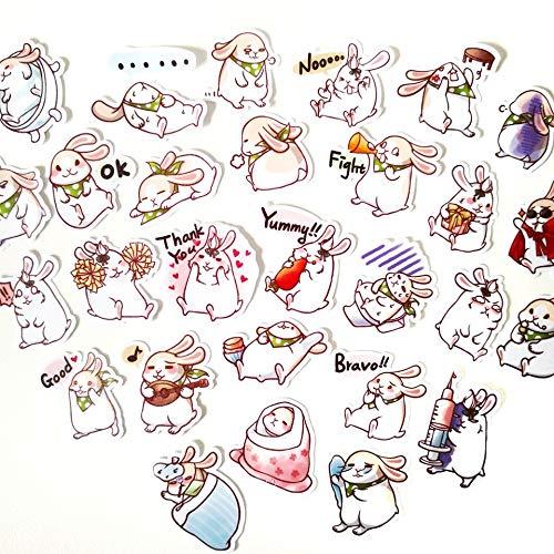 BAIMENG Conejo de dibujos animados mano cuenta material DIY teléfono móvil diario decorado impermeable pequeñas pegatinas 40 unids