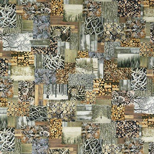Dekostoff Halbpanama Digitaldruck Patchwork Holz Stämme 1,40m breit