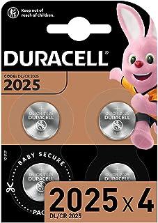 Duracell Specialty 2025 Lithium Knopfzelle 3 V, 4er Packung, mit kindersicherer Technologie, für die Verwendung in Schlüsselanhängern, Waagen, Wearables und medizinischen Geräten (CR2025 /DL2025)