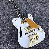 MLKJSYBA Guitarra Guitarra Eléctrica Blanca Guitarra Eléctrica Dorado Trémolo Brazo Acústico Acero Guitarras De Cuerda Guitarras acústicas (Color : Guitar, Size : 41 Inches)