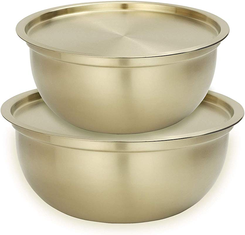 Onlycooker Mixing Bowl Set With Lids Gold Salad Bowl 18 10 Stainless Steel Nesting Bowl 2 Piece For Chef Cooking Storage Baking Dough Egg Fruit Kitchen Food Prep Matte Finish 2 5 3 Quart