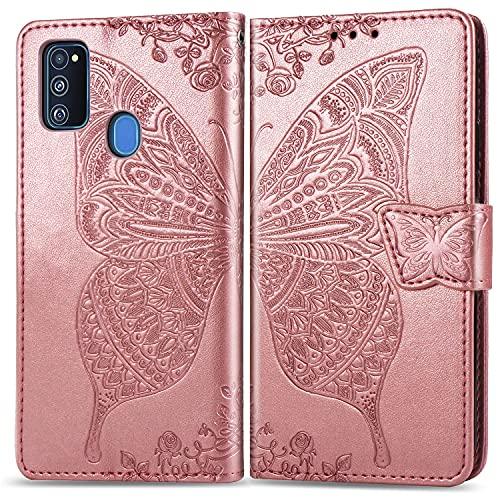 Roar Mädchen/Frauen Hülle für Samsung M21, Handyhülle Tasche Schutzhülle Flip Hülle Klapphülle für Samsung Galaxy M21, Rosegold