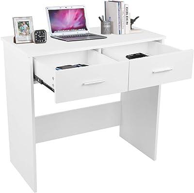 Table de travail en MDF avec 2 tiroirs - Convient pour les adolescents et les chambres d'enfants - 80 x 40 x 75 cm - Charge maximale : 100 kg - Blanc