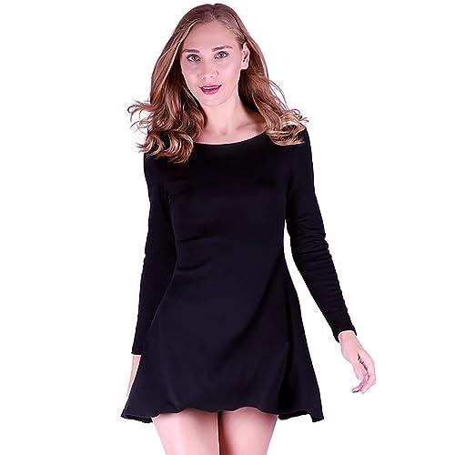 4ddb437aa3d2 HDE Women s Casual Long Sleeve T-Shirt Loose Cotton Swing Dress