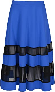 Oops Outlet Contrast Mesh Panel Swing Skater Skirt Flared Stretchy Midi Skirt