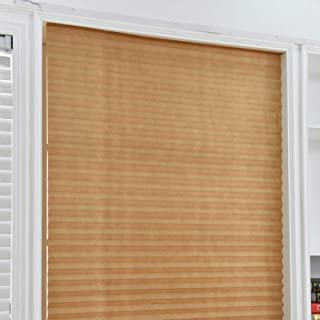 Temporary Blinds,Instant Easy to Install No Tools Needed Fits Any Size Cordless Window Blinds,Brown 35.4