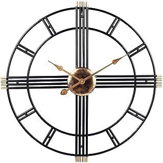 qwertyuio Wall Clocks 50Cm Retro Vintage Wall Clock - Metal Black Skeleton Large Wall Clock - Silent Non-Ticking - For Lou...