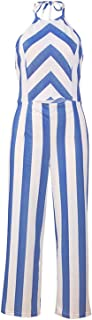 Brittany-Breanna Women 2019 Summer Jumpsuits Contrast Striped Halter Neck Sleeveless Backless Hollow Out Pantsuit