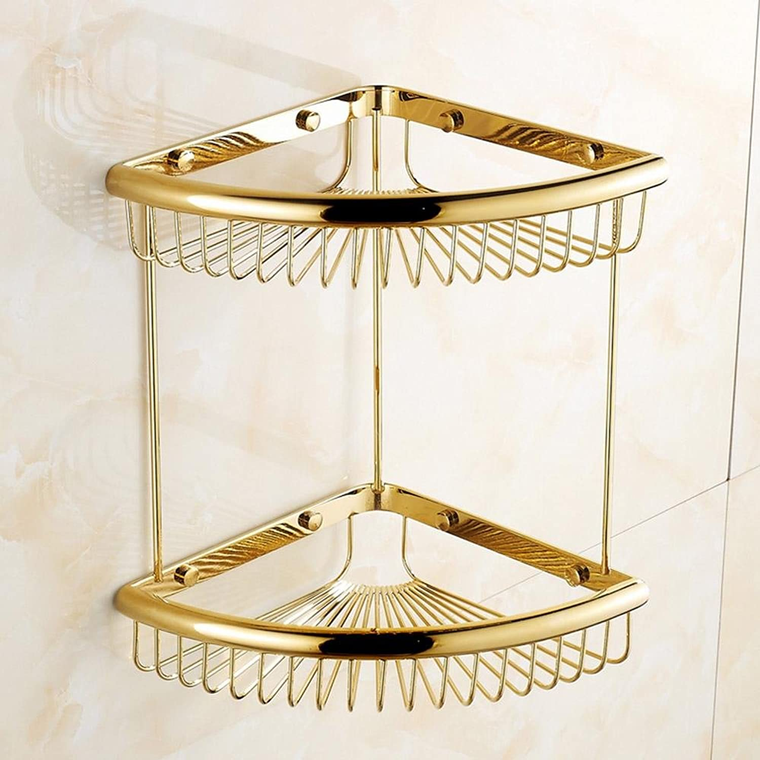 XUEXIN Full Copper gold Shelf Rack   Basket Single Layer Double Layer Antique pink gold gold-plated Basket Retro Bathroom Angle Rack , double