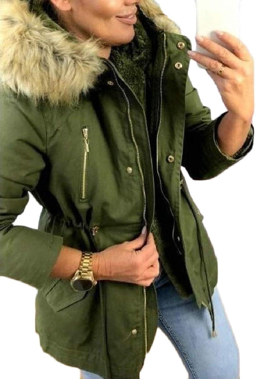 ZXFHZSCA Women's Hooded Outwear Warm Coat Long Thick Faux Fur Hoodie Parka