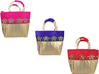 Gold Zari Embroidered Velvet Potli Bags for Women, Potli Purse for Party, Women clutch for Return Gift, Potli Pouches for Wedding, Gift Bags for House warming(Set of 3)