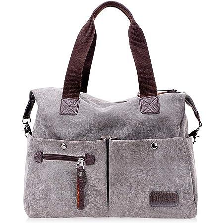 Nlyefa Damen Canvas Handtasche Umhängetasche große Damentasche Henkeltasche Canvas Tasche, EINWEG