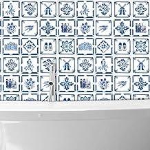 WALPLUS WT1528 Muurstickers, motief: Nederlandse blauwe tegels, 15 x 15 cm, 24 stuks, gemengd, 15 x 15 x 0,02 cm