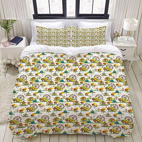 Yaoni Duvet Cover,Ferris Wheel Funfair at Autumn Season with Colorful Trees Balloons and Tent Pattern,Bedding Set Ultra Comfy Lightweight Microfiber Sets
