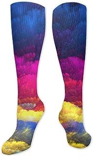 JONINOT, Splash - Calcetines altos de algodón para practicar deporte, yoga, senderismo, ciclismo, correr, fútbol