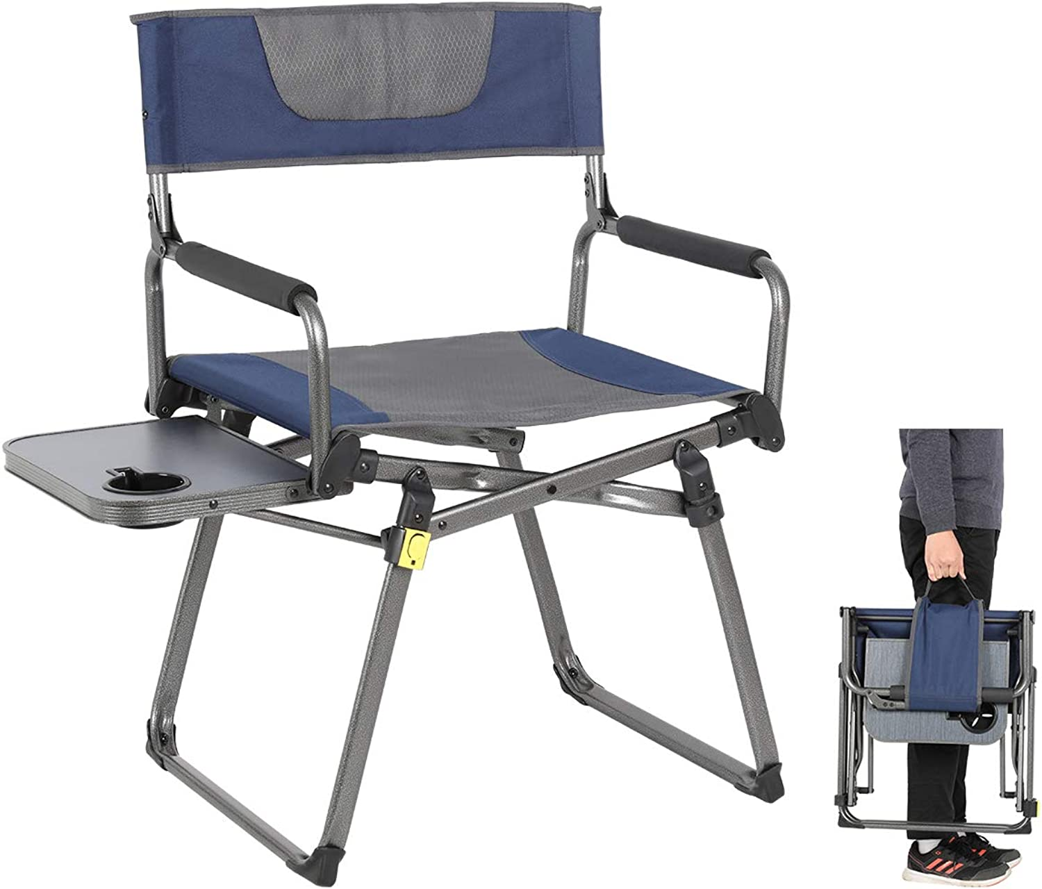PORTAL Compact Folding Directors Chair Heavy Duty Folding Chair Padded with Carry Strap, Side Table and Armrest,Supports 300 lbs