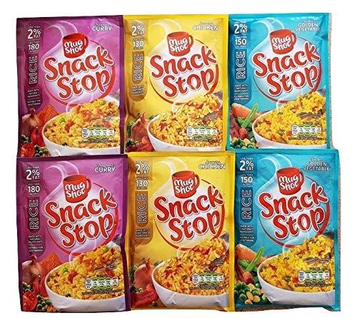 Becher Shot Snack Stop Instant Rice 6er Pack 2 x herzhaftes Huhn, 2 x Curry, 2 x goldenes Gemüse Perfekte schnelle Mahlzeit, fertig in 20 Minuten