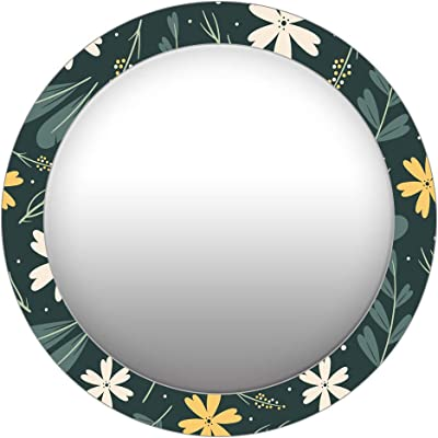 999Store Printed White and Yellow Flowers Round Mirror(MDF_17X17 Inch_Multi)