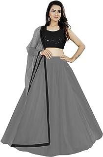 Ocean Fashion Women's Net Unstitched Lehenga Choli
